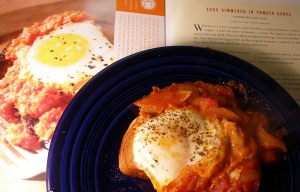 David Leite's eggs simmered in tomato sauce
