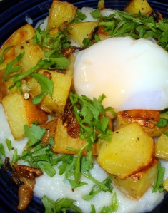 Turnip Puree with Roasted Potatoes, Crispy Onions, and Slow-Poached Egg